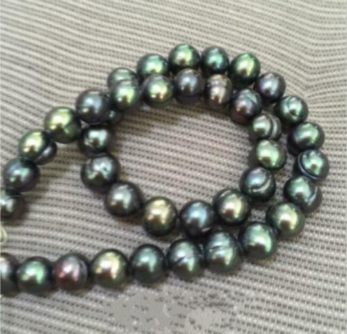"""18/"""" AAA 9-10 mm Baroque South Sea black green pearl necklace"""