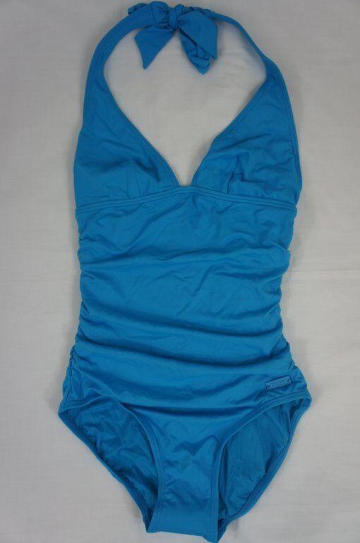DKNY Swim One Piece Sz 6  Capri bluee Solid Halter Maillot Swimsuit D62381