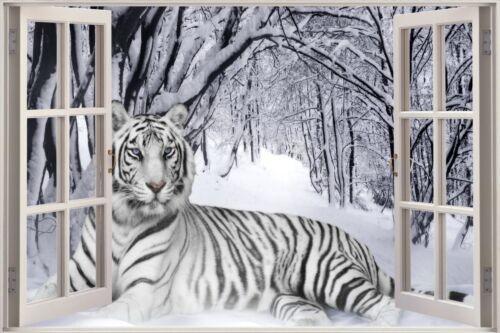 Énorme 3D Fenêtre View Snow Tiger Wall Sticker Mural Film Art Décalque Papier Peint S18