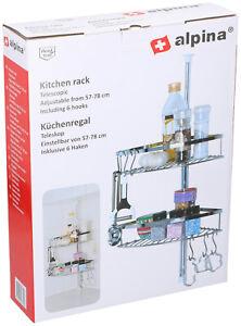 Kuechenregal-Standregal-Teleskopregal-Edelstahl