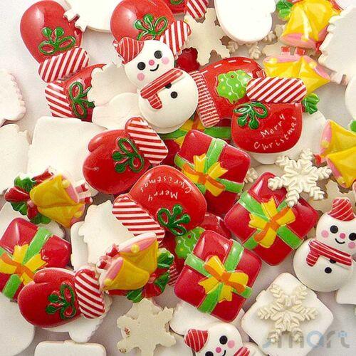 50pcs Mixed Christmas Theme Resin Cabochon Flatback Craft Center Decoration DIY