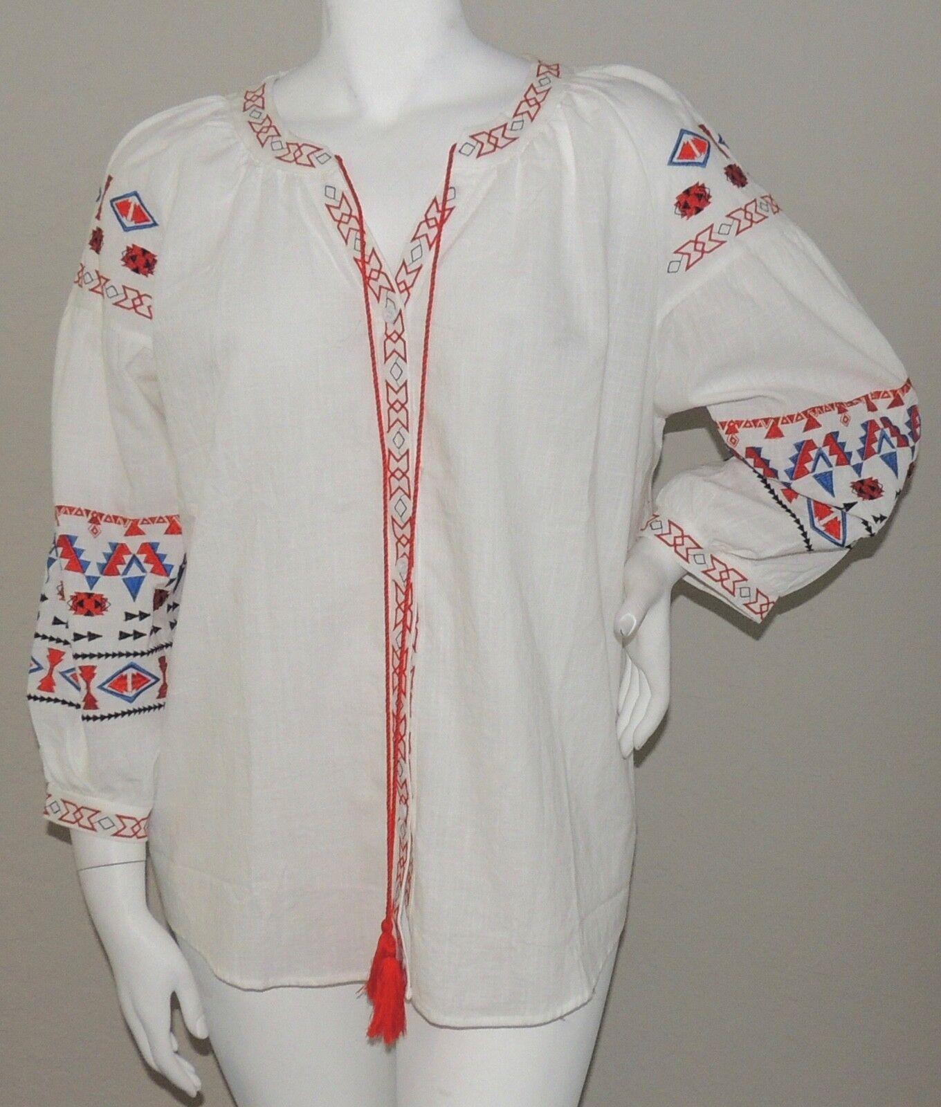 Velzera Boho Embroidered Tribal Button Down Tunic White Plus 1XL 2XL 3XL - New