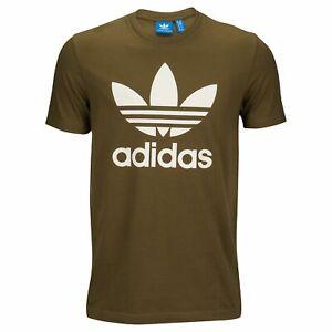 Details about Adidas Originals Trefoil Men's Crew Neck T Shirt Trace Olive White cw2723