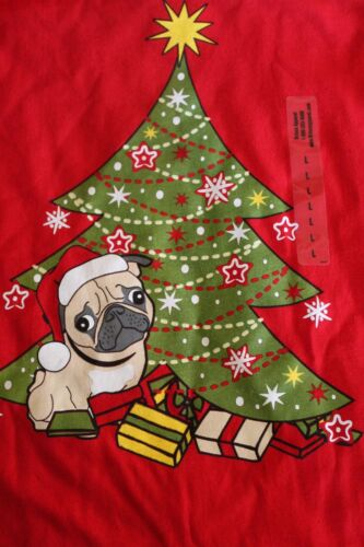 Youth Sizes Christmas PUG under the Holiday Tree Gifts Red  T-shirt   Ships Free