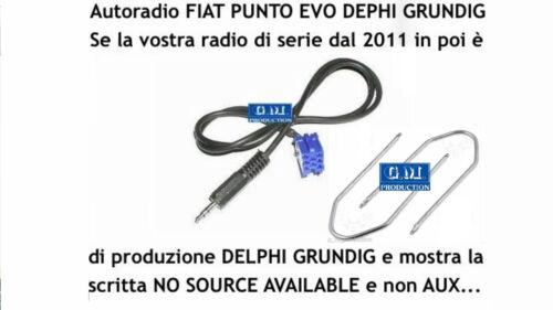 """Kit cavo Aux MP3 iPod Punto EVO 150 /""""NO SOURCE AVAILABLE/"""" Grundig Delphi da 1,4M"""