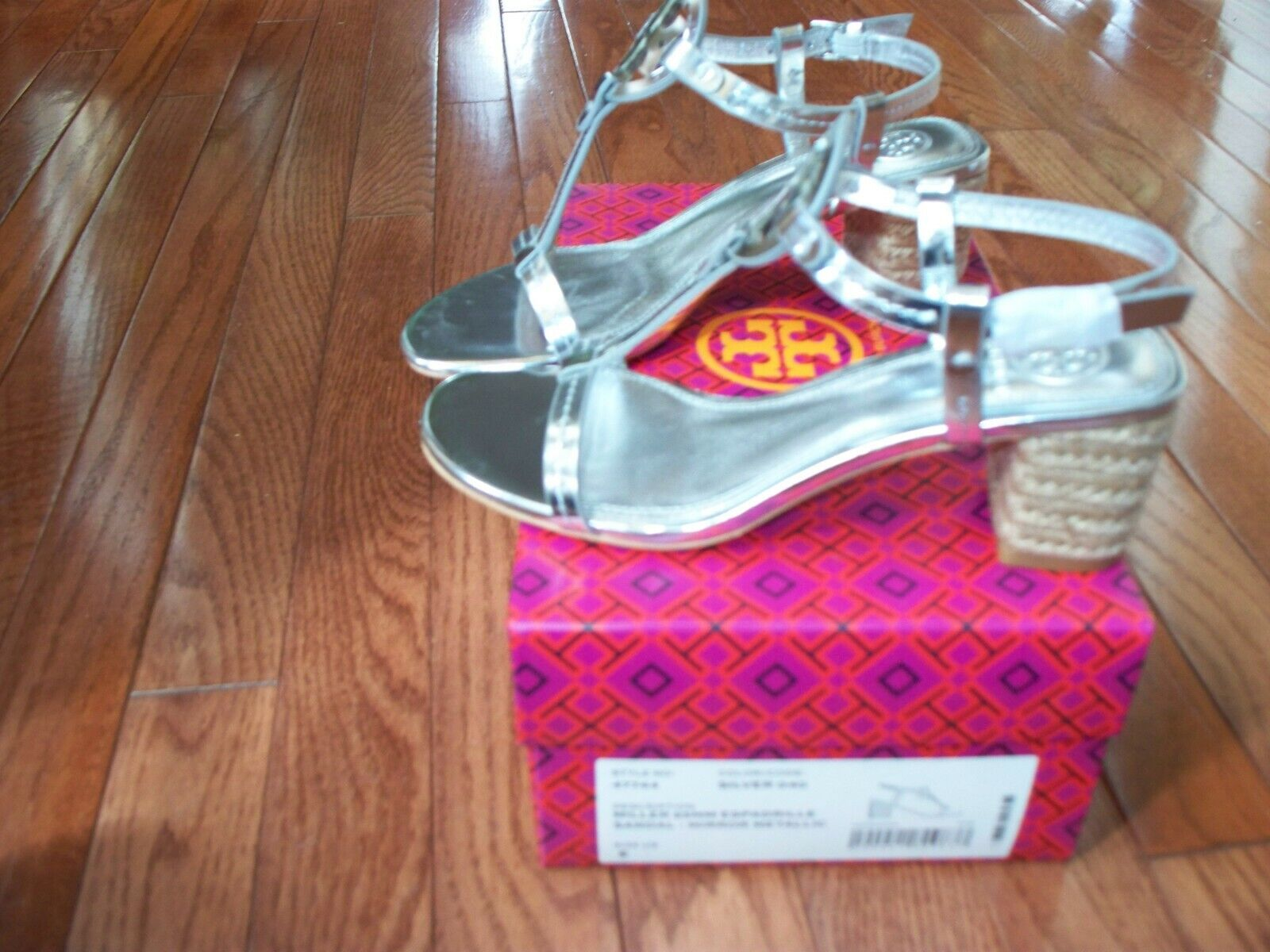 Tory Burch Miller 65MM Espadrille Sandal Silver, Size 6, New
