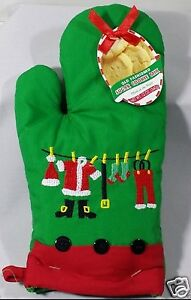 Green-Christmas-Santa-Oven-Mitt-Pot-Holder-Sugar-Cookie-Mix-Set-Embroidered-New