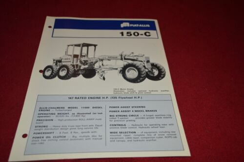 Fiat Allis Chalmers 150-C Motor Grader Dealer/'s Brochure DCPA2