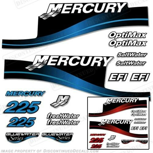 Mercury 225hp Outboard Decal Kit bluee or Red 225 All Models Available