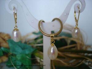 Anhaenger-Ohrringe-925er-Silber-vergoldet-Echte-Perle-8x12-mm-Weiss-Tropfen