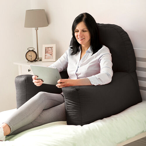 Black Cotton Chloe Bed Reading Pillow Bean Bag Cushion Arm Backrest Back Support