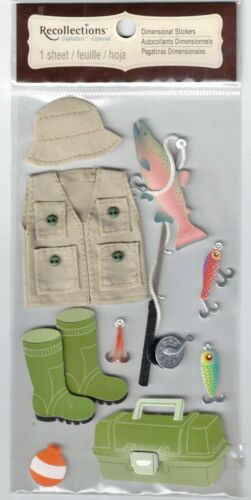RECOLLECTIONS FISHING DIMENSIONAL STICKERS BNIP