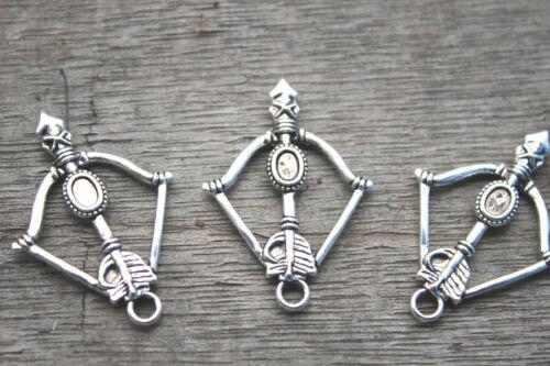 20pcs Arrow Charms Silver  3D Filigree Bow And Arrow Charm Pendant 35x25mm