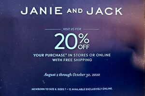 Janie And Jack Coupon 20 Off Entire Purchase Exp Oct 30 Ebay