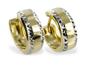 ECHT-GOLD-Creolen-13-mm-Ohrringe-bicolor-diamantiert