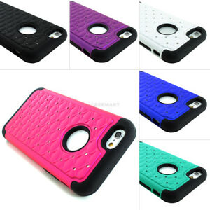For Apple iPhone 6S/Plus/6 Lattice Bling Silicone Case+Tempered Glass Screen