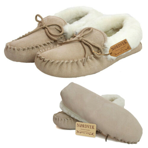 Nordvek Ladies Genuine Suede Moccasin Slippers Sheepskin Lined Soft Sole Womens