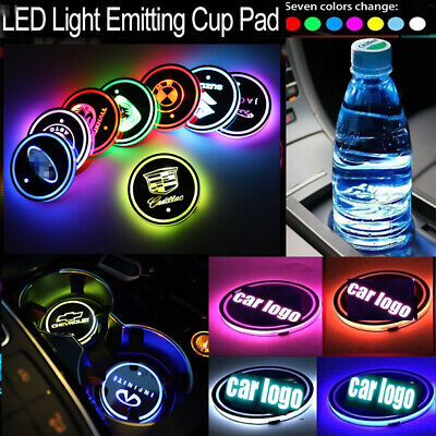 LED Cup Holder Lights for FordCar Logo Coaster with 7 Colors Changing USB Cha...