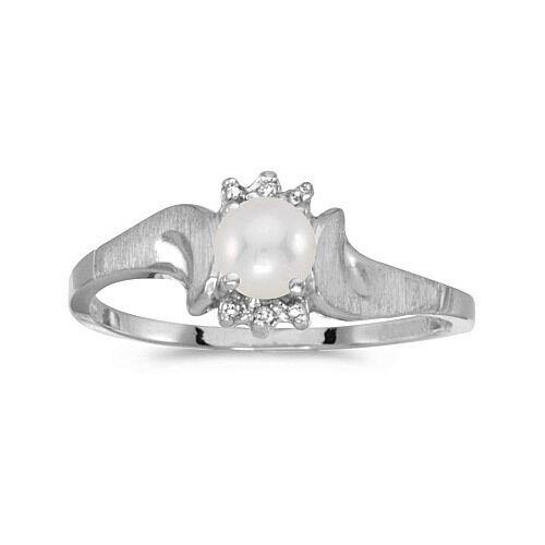 10k White gold Cultured Freshwater Pearl & Diamond Satin Finish Ring