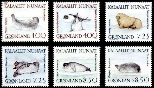 Greenland 1991 Marine Mammals, Seals & Walrus set, UNM / MNH
