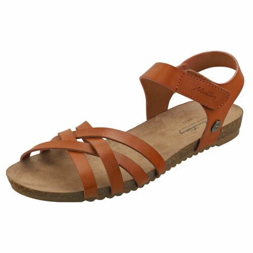 Mustang Single Strap Womens Cognac Synthetic Casual Sandals