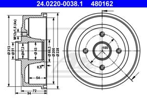 2x Bremstrommel für Bremsanlage Hinterachse ATE 24.0220-0038.1