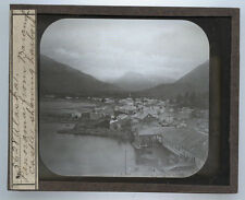 LANTERN SLIDE PHOTO ON GLASS PANORAMA VIEW FROM BARANOF CASTLE.