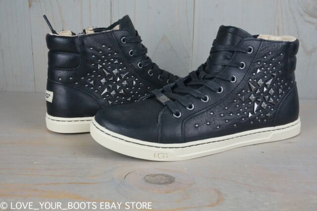 UGG Gradie Deco Studs Black Leather Embellished High Top SNEAKERS US 10