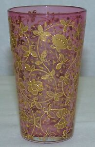 Antique Bohemian Moser Glass Cranberry w/ Floral Gold Enamel Juice Wine Tumbler
