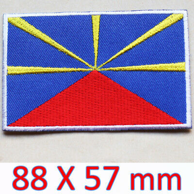 Flag patch printed badge country reunion island