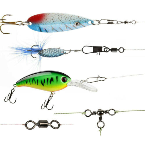 140pcs Fishing Swivels Snaps Tackle Box Kit Fishing Rolling Barrel 3 Way Swivels
