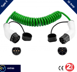 Type 2 EV Coiled Charging Cable-32 amp, 3M (5M UNCOILED) Green -2YR WRTY