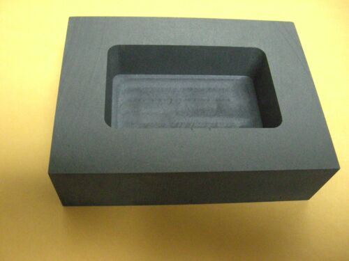 GRAPHITE INGOT MOLD 1 Kg GOLD 1/2 Kg SILVER POUR LOAF BAR SCRAP MACHINED GRAPHIT