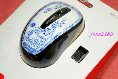 NEW Microsoft Wireless Mobile Mouse 3500 blue and white porcelain GMF-00062