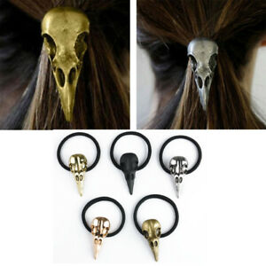 Halloween Silver Bird Skull Hair Tie Plague Doctor Crow Raven Cool Elastic BandD