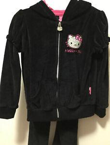 Girls-Hello-Kitty-Black-Sequin-Track-Suit-Velour-Hoody-Set-Size-4T