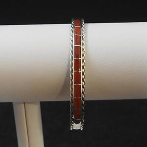 Native-American-Indian-Inlay-Coral-Sterling-Silver-925-Cuff-Bracelet-Signed-JPC