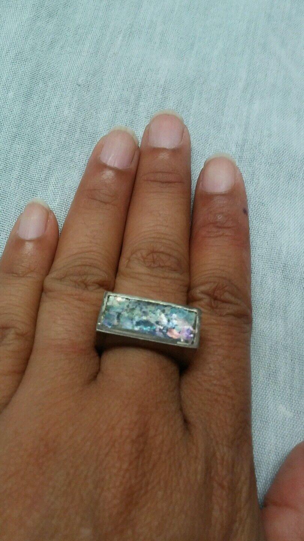 Pretty designer  signed sterling 925 roman glass ring size. 8.25