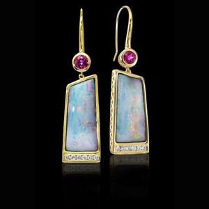 Fashion-18K-Yellow-Gold-Plated-Fire-Opal-Ear-Stud-Hook-Dangle-Engagement-Earring