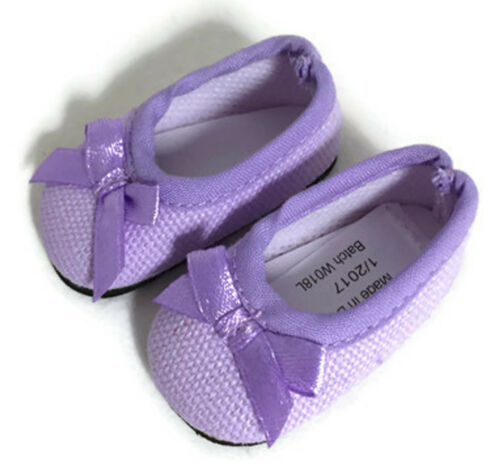 Lavender Ballet Flats Shoes w//Bow for 14 inch American Girl Wellie Wishers Dolls