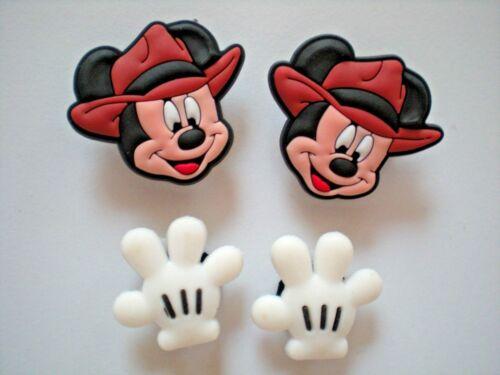 Clog Shoe Plug Button Charms Fit Belt WristBands 4 Pcs Mickey Mouse