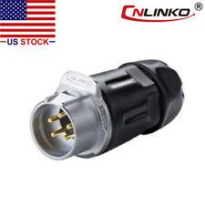Cnlinko 5 Pin Power Circular Connector Male Dock Plug Waterproof Outdoor Ip67
