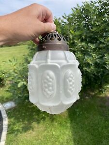 Ancien Globe Verre Art Deco Lampe Suspension Lustre Vintage Lamp