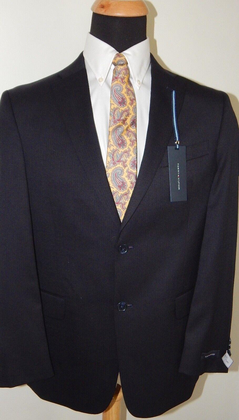 Tommy Hilfiger Navy blu Pinstripe Uomo Suit 80453 100% Wool Wool Wool Trim Fit Flat 46L b50b71