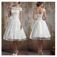 Stock-New-White-Ivory-Lace-Short-Wedding-Dress-Bridal-Gown-Size-6-8-10-12-