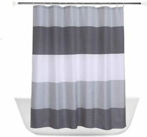 Black Gray White Striped Fabric Shower