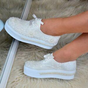 Womens-Bridal-LACE-up-Trainers-Flatform-Shoes-Embellished-Wedding-Flats-Floral