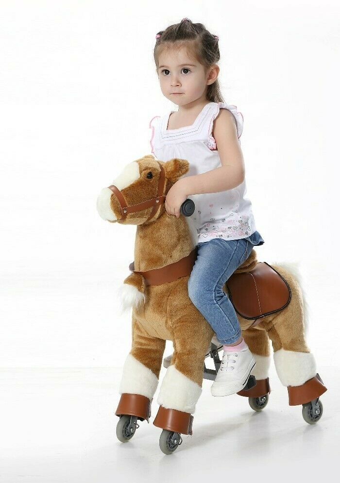 BEIGE Pony Pferd Cycle Riding Pferd Ride on Spielzeug Plush Mechanical ages 3-6