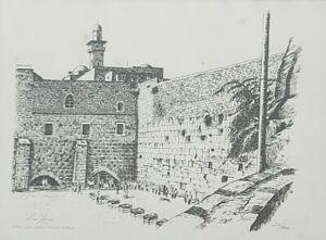 1972 Ltd Ed Signed LEO YENI 20/100 Jerusalem The Wall Israel Judaica Holocaust