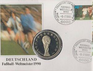 Numisbrief-Deutschland-Fussball-Weltmeister-1990-60-Pfg-Briefmarke-Stempel-Ffm